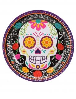 Tag der Toten-Pappteller Halloween-Tischdeko 6 Stück bunt 23 cm