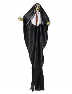 Zombienonne-Dekofigur mit Leuchteffekt Halloween-Hängedeko schwarz-weiss 137 cm