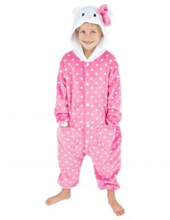 Katzen-Kostüm für Kinder Overall Faschingskostüm rosa-weiss