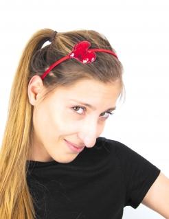 Herz-Haarreif mit Pailletten Valentinstags-Accessoire rot