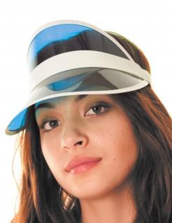 Poker-Schirmmütze Accessoire Fasching blau-weiss