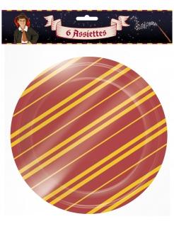 Zauberer-Teller Halloween-Partydeko 6 Stück rot-gelb 22 cm