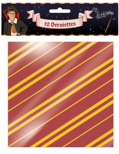 Zauberer-Servietten Halloween-Tischdeko 12 Stück rot-gelb 33x33 cm