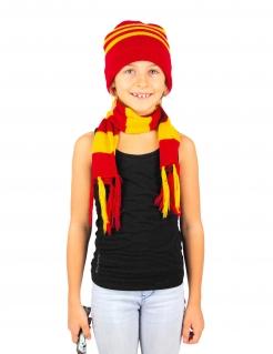 Mütze und Schal für Kinder gestreift Halloween-Accessoire rot-gelb