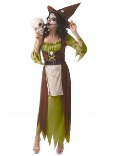 Tödliches Hexen-Kostüm für Damen Halloween-Kostüm grün-braun