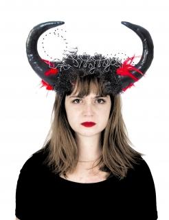 Hörner-Haarreifen für Damen Halloween-Accessoire schwarz-rot