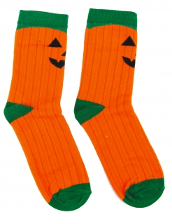 Kürbis-Socken Halloween-Socken Accessoire orange-grün