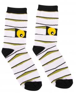 Mumien-Strümpfe für Erwachsene Halloween-Accessoire weiss-schwarz-gelb