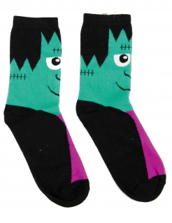 Monster-Strümpfe Halloween-Socken Accessoire schwarz-grün-lila