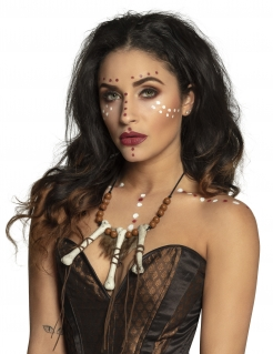 Voodoo-Halskette für Erwachsene mit Knochen braun-weiß-schwarz