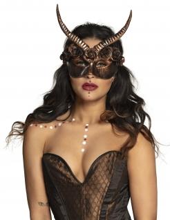 Sexy Steampunk-Halbmaske für Erwachsene mit Hörnern bronzefarben