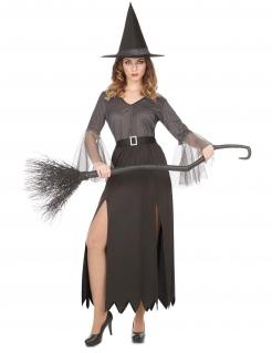Klassisches Hexen-Kostüm für Damen Halloweenkostüm grau-schwarz