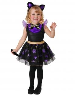 Niedliches Kätzchen-Kostüm für Kleinkinder Faschingskostüm lila-schwarz