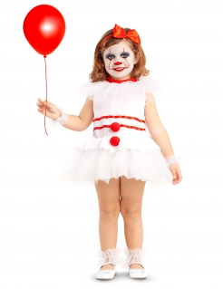 Niedlicher Horrorclown Babykostüm für Halloween weiß-rot