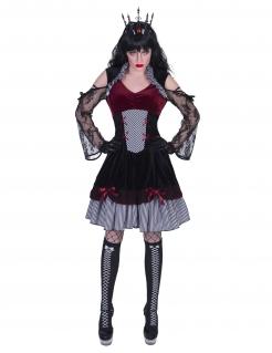 Schickes Gothic-Kostüm für Damen Halloweenkostüm schwarz-rot