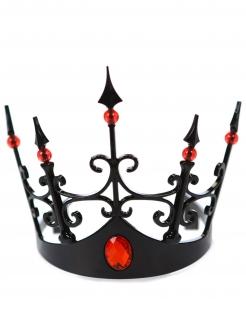 Krone der dunklen Königin Kostüm-Accessoire für Halloween schwarz-rot