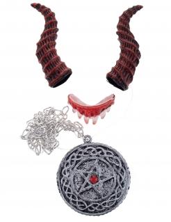 Dämon-Accessoire-Set für Erwachsene Halloween-Accessoires 3-teilig rot-silber