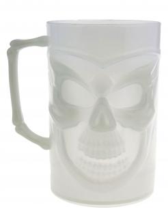Nachtleuchtendes Totenschädel-Henkelglas weiß 13 cm