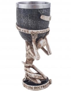 Skelett-Trinkbecher Partydeko Halloween beige-grau 18 cm