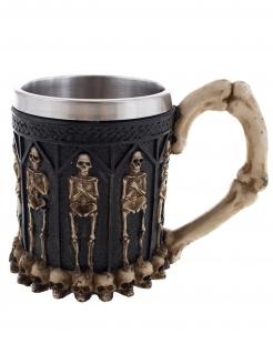 Wikinger-Skelettbecher aus Edelstahl schwarz-silberfarben-weiß 12 cm