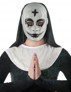 Dämonische Nonnen-Maske für Damen Halloween-Maske weiss-schwarz