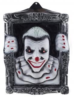 Horrorclown-Porträt mit Leuchteffekt Halloween-Partydeko schwarz-weiss 40x50 cm