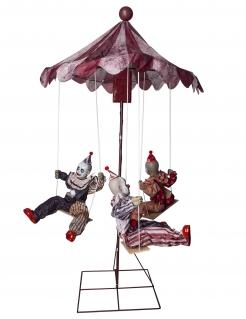 Horrorclown-Karussell Dekofigur mit Licht und Sound Halloweendeko 130x122 cm