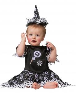 Zucker-Hexe Kostüm für Mädchen Halloweenkostüm schwarz-weiss