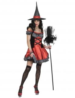 Hexen-Kostüm für Damen mit Polka-Dots Halloweenkostüm rot-schwarz-weiss