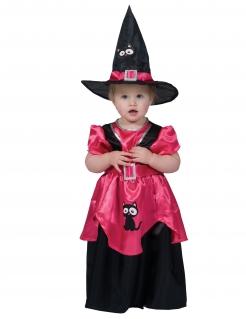 Kleines süßes Hexen-Kostüm für Mädchen Halloweenkostüm schwarz-pink