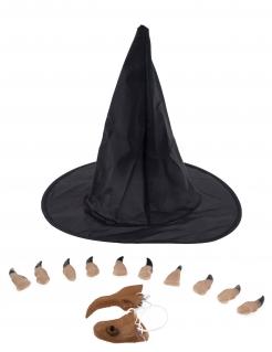 Hexen-Accessoire-Set für Damen Halloween-Accessoire schwarz-beige