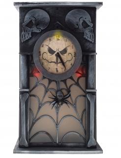 Heimgesuchte Uhr animiert Halloween-Deko schwarz-grau 34 x 20 x 8 cm