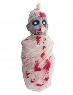 Zombie-Baby-Puppe mit Leucht- und Sound-Effekt Halloween weiß-grau-rot
