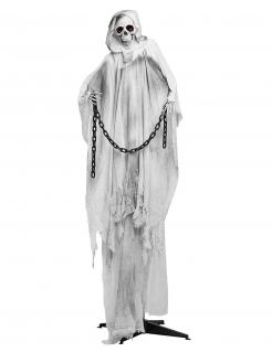Riesige Eisskelett-Dekofigur animiert mit Sound- und Lichteffekten blau-grau-schwarz 240 cm