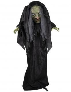 Lebensgroße animierte Horrornonne-Dekofigur mit Licht- und Soundeffekten Halloween-Deko schwarz-weiß-grau 205 cm