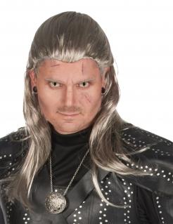 Hexer-Perücke für Herren Geralt Halloween-Accessoire silbergrau
