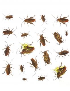 Kakerlaken-Aufkleber Halloween-Deko 20 Stück braun-gelb