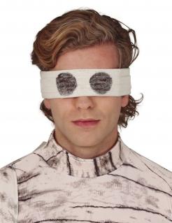 Gruselige Mumien-Augenbinde für Erwachsene weiß-schwarz 67 cm