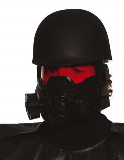 Postapokalyptischer Soldatenhelm für Erwachsene Halloween-Maske schwarz-rot