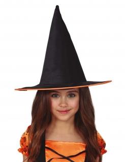 Hexen-Hut für Kinder Halloween-Accessoire schwarz-orange
