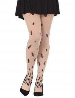Kakerlake-Strumpfhose für Damen Halloween-Accessoire beige-schwarz