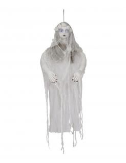 Schaurige Waldfrau Dekofigur mit Lichteffekt Halloween-Partydeko weiss-braun 120 cm