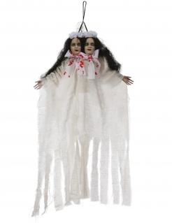Zwillinge-Hängedeko Halloween-Partydeko weiss-schwarz 60 cm