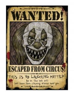 Horrorclown-Poster Wanted! Wanddekoration Partydeko Halloween braun-schwarz 30x40 cm