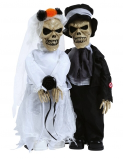Skelett-Brautpaar Dekofigur mit Licht und Sound Halloween-Deko 48 cm