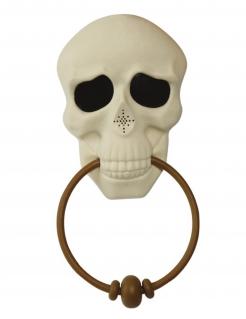 Skelett-Türklopfer mit Sound und Animation Halloween-Partydeko weiss-braun 30 cm