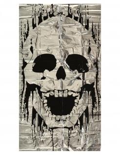 Skelett-Türdeko Halloween-Partydeko weiss-schwarz 75x150 cm