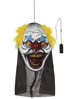 Riesen-Clownskopf-Deko zum Aufhängenm mit Leuchteffekt  Halloween-Partydeko bunt 95x35 cm