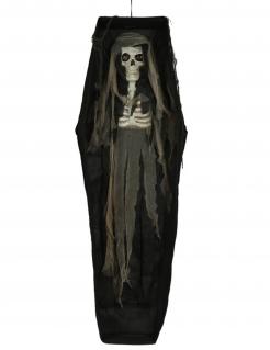 Leiche-Leuchtdekoration im Sarg Halloween-Partydeko schwarz-braun 160 cm