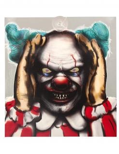 Aufdringlicher Horrorclown-Dekofigur Halloween-Partydeko bunt 28x31 cm